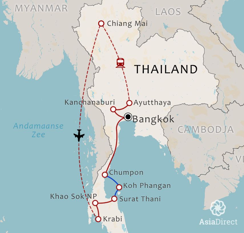 Routekaart 20-daagse rondreis Best of Thailand