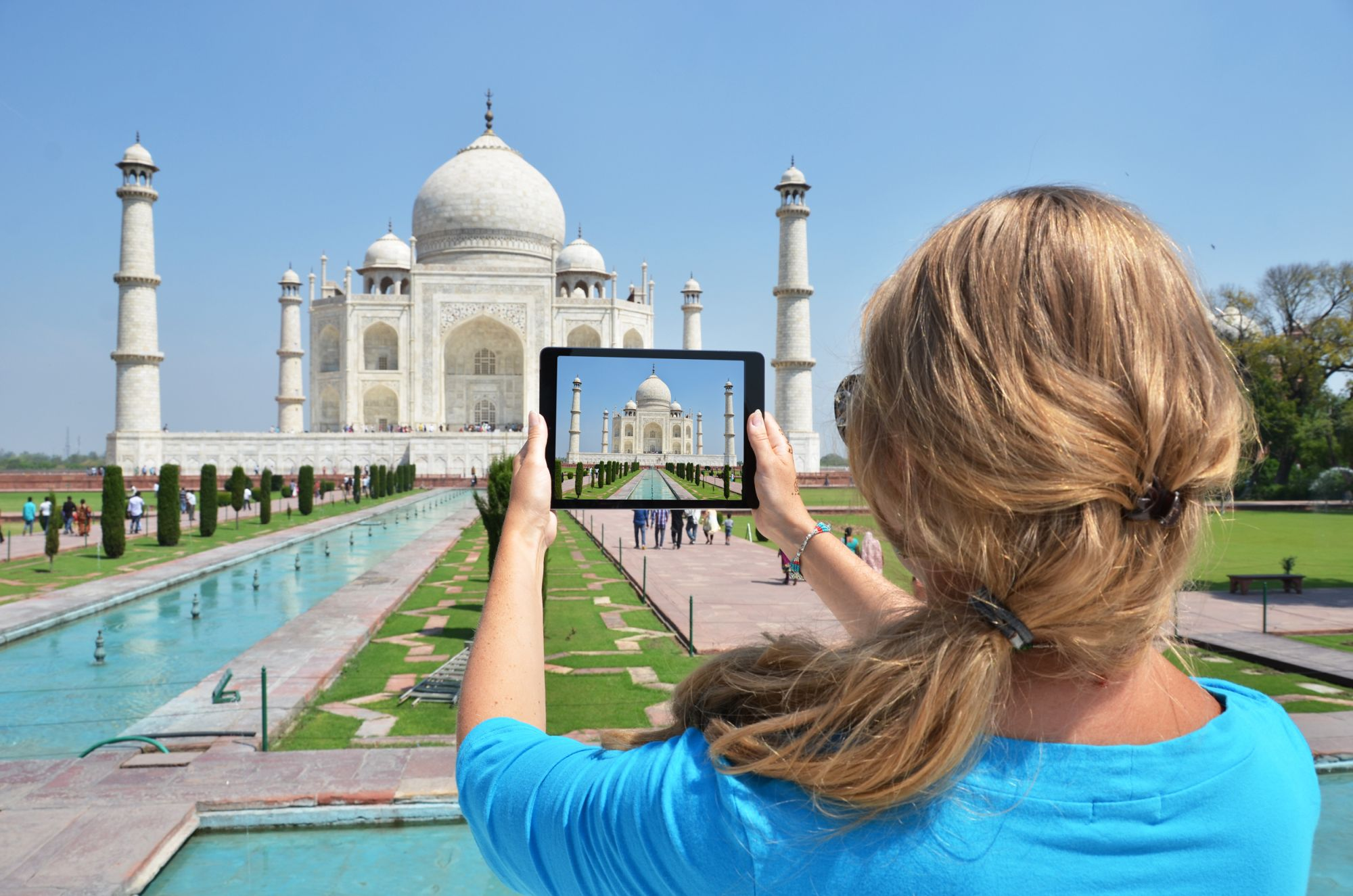 India Taj Mahal foto met tablet